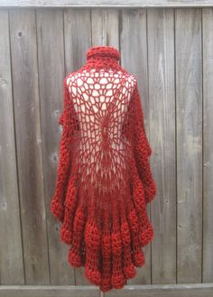 RED CAPE PONCHO Crochet Knit Shawl Sweater by marianavail on Etsy