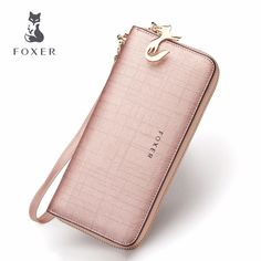 a3962faca8d US $18.03 59% OFF|FOXER Brand Women's Leather Wallets with Wristle Luxury Female  Long Clutch Wallet Lady Card Holder Coin Purse Cellphone Bag -in Wallets ...