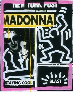 """""""New York Post (Madonna)"""" by artists Andy Warhol and Keith Haring is found in the exhibition """"Andy Warhol: Headlines,"""" at the National Gallery of Art in Washington, D. Jm Basquiat, Keith Allen, Andy Warhol Museum, Kenny Scharf, New York Post, Keith Haring, Heart Art, Graffiti Art, Artist Art"""