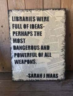 Sarah J Maas quote, book lover art, reading decor, inspirational quote, 11x14 canvas