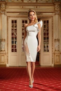Rochie alba ca zapada! #shineboutique One Shoulder, Shoulder Dress, White Dress, Boutique, Dresses, Fashion, Vestidos, Moda, Fashion Styles