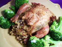 This recipe combines long grain rice mix ,vegetables, and cream of mushroom soup to stuff cornish game hens.  I got this recipe from a make it from a mix pamphlet, and was surprised by how good this is...like Thanksgiving, but easy enough to do everyday!