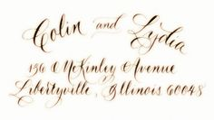 Custom hand calligraphy designed rubber stamp, Calligraphy by Marcia Aronow.