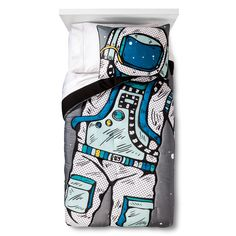 Your kid can float among the stars with galactic dreams under the Astro Adventure Comforter Set in Multicolor from the Pillowfort Stellar Station collection. The comforter set is covered with a courageous cosmic explorer in full gear, with the face completely hidden by the helmet. Your boy or girl can picture themselves in the spacesuit as they snuggle under the astronaut bedding and voyage into the unknown.