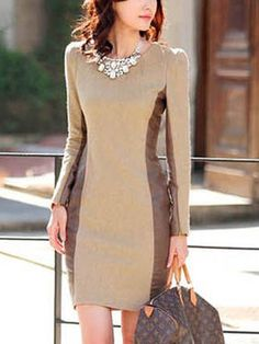 Slim fit wool matching dresses