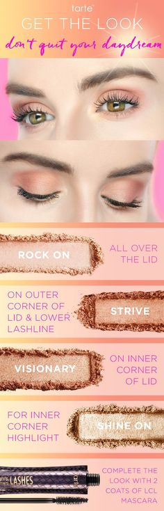 A step-by-step guide to get this shimmery eye using the shades from our NEW limited-edition don't quit your day dream eyeshadow palette! #tartecosmetics #tartetutorials
