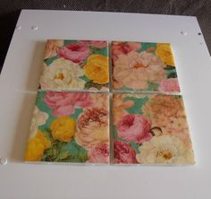 Shabby Chic FLORAL Ceramic Table Coasters by crazydaisy12 on Etsy, $12.00