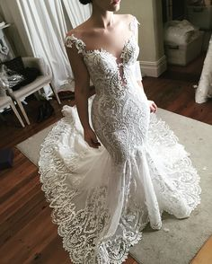 elegant sheer neckline wedding dress #wedding #bride #bridalgown #weddinggown #weddingdress #weddingdresses #mermaidgown #pluginneckline
