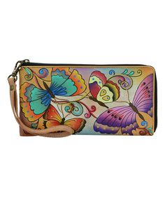 Henna Butterfly Hand-Painted Leather Clutch Wristlet