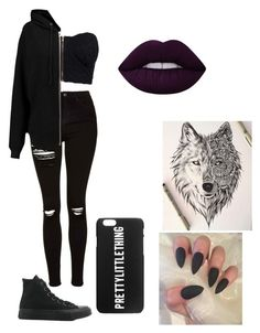 """Punk"" by ariana327 ❤ liked on Polyvore featuring NLY Trend, Topshop, BLK DNM, Converse and Lime Crime"