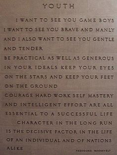 Teddy Roosevelt quotes at the American Museum of Natural History. Good words to remember as we try to raise gentle, brave, practical, tender, manly, generous, hardworking men of character.