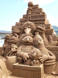 Sesame Street on the beach= a little kids dreams come true.  #sandcastle…