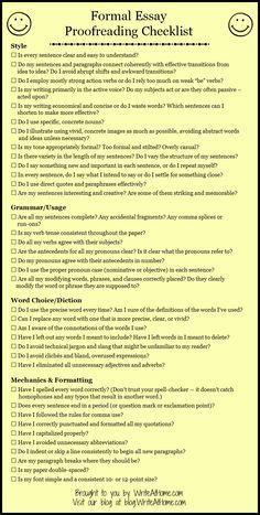 Basic Essay Proofreading Checklist could make into a rubric!