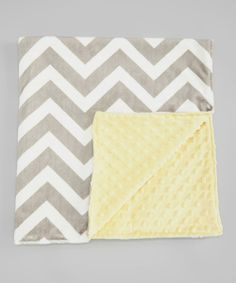 "Take a look at the Lolly Gags Yellow & Silver Zigzag Minky 28"" x 32"" Blanket on #zulily today!"