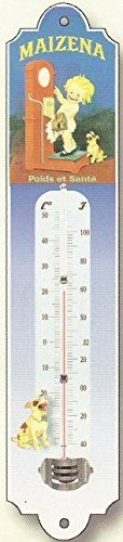 FRENCH METAL DECORATIVE SILKSCREENED THERMOMETER RETRO AD MAIZENA ** More info could be found at the image url. (This is an affiliate link) #WeatherInstruments