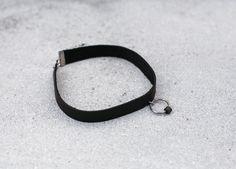 SAKURU black leather choker with a metal ring and black rubber by Eleni Pashalidou