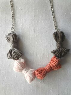 Little Treasures: Yarn Bow Necklace DIY  I like my necklaces to be long, please.