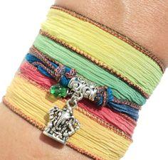 Ganesha Silk Wrap Bracelet Yoga Jewelry por BohemianEarthDesigns