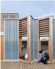Projecting window bays are appropriated for gossip and relaxing. Polycarbonate walls are both tough and translucent; materials generally have a dignity and robustness and are thoughtfully applied and combined