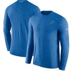 Detroit Lions Nike Sideline Coaches Primary Logo Long Sleeve Performance T- Shirt – Blue 28642c645