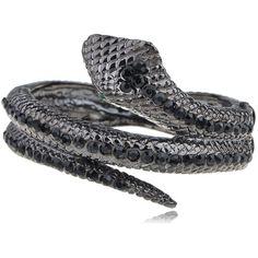 Alilang Womens Gunmetal Tone Black Rhinestones Antique Snake Wrap... ($14) ❤ liked on Polyvore featuring jewelry, bracelets, snake bangle bracelet, antique bangles, bangle jewelry, wrap jewelry and gun metal jewelry