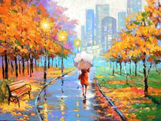 """Farewell To Autumn — Landscape Art On Canvas By Dmitry Spiros - 32"""" x 24"""" inches (80 cm x 60 cm)"""