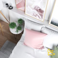 Decorating Your Bedroom With Rosé Quartz  Keep your furniture practical yet simple. Use modern side tables in white to keep the room bright and calm, and make sure you have lots of storage options in drawers, cupboards, and bookshelves to reduce clutter in every room.  Love,  Cozybanana Beautiful Houses Interior, Beautiful Homes, Modern Side Table, Cosy Interior, Interior Design, Make Design, Cupboards, Cozy House, Side Tables