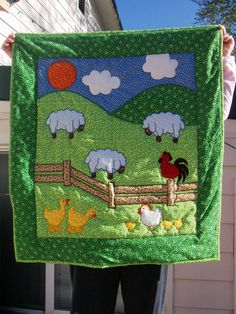 New Vintage baby quilt 32 by 36 started in by MonasChickenRanch, $150.00