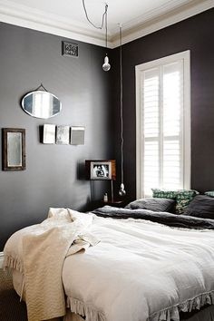 20 Beautiful Black & White Bedrooms | Apartment Therapy /  Pin it button big  Dark walls and lots of light, from Homelife.
