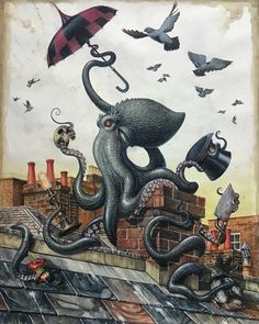 (28) Following | Tumblr Octopus Painting, Octopus Art, Painting & Drawing, Art Steampunk, Steampunk Octopus, Tentacle, Surreal Art, Fantasy Art, Cool Art
