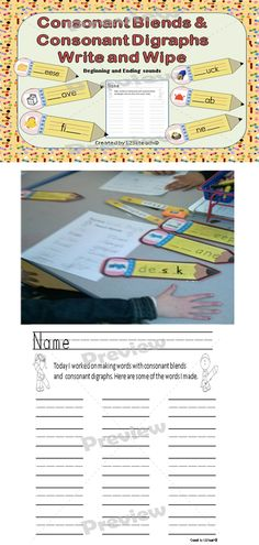 Students will love these wipe and write pencils as they learn consonant blends and consonant digraphs at the beginning and at the end of words. Recording sheets are also available for students to write the words they made and take home to practice.