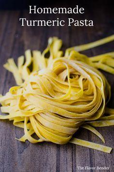 Turmeric Pasta - Bright yellow, smoky turmeric infused into homemade pa. - Pasta homemade -Homemade Turmeric Pasta - Bright yellow, smoky turmeric infused into homemade pa. Pasta Recipes, Cooking Recipes, Healthy Recipes, Noodle Recipes, Healthy Foods, Ravioli, Bon Appetit, Homemade Pasta Dough, Ramen