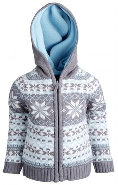 Amazon.com: Wippette Baby Boys Long Sleeve Fleece Lined Knitted Cardigan Sweater with Hood: Clothing