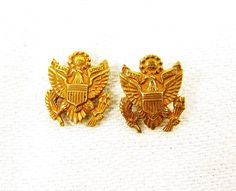 Great for Memorial Day and Father's Day! 10k Gold Army Insignia  US Military Emblem by FortyAcreVintage