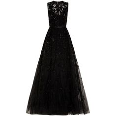 Elie Saab Embellished Gown found on Polyvore featuring dresses, gowns, black, black beaded gown, black leather belt, black gown, black lace dress and lace evening gowns