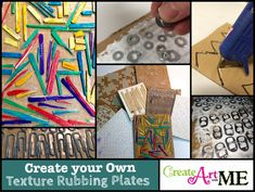 Creating Texture rubbings is one of my FAVORITE things to do- It's active, tactile and MAGICAL! Make your own Txture rubbing plates easily with everyday objects