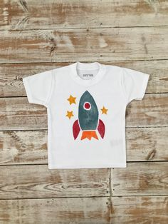Spaceship Rocket Baby T-Shirt - Organic Cotton Toddler Clothes Organic Baby, Organic Cotton, Great T Shirts, T Shirts For Women, Space Rocket, Baby Shirts, Fabric Painting, Green And Orange, Toddler Outfits