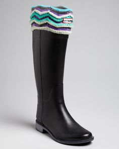 Buy Hunter Original Tour Black Rain Boots w/Welly Socks Size 6 NIB at  online store