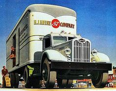 1946 Ad Autocar White Semi Truck H. J. Heinz .  We would sit along a busy road and se how many truckers would honk when we waved.