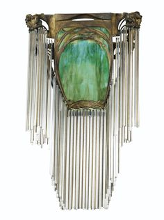 HECTOR GUIMARD  1867 - 1942  LUSTRE, VERS 1900-1910  A BRONZE, GLASS, METAL AND CRYSTAL CEILING LIGHT BYHECTOR GUIMARD, CIRCA 1900-1910