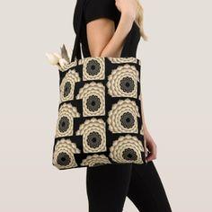 Crown Chakras Sepia Multi Corners on Black Tote Bag custom gift ideas diy