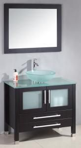 "30"" Frosted Glass Vessel Sink Modern Bathroom Vanity - Everything is included for the Price"