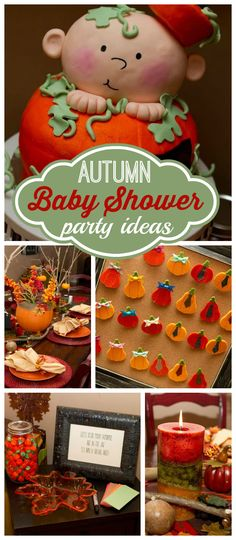 """An """"our lil' pumpkin"""" gender reveal baby shower party with voting and pumpkin cake!  See more party planning ideas at CatchMyParty.com!"""