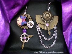 "Earrings ""nature Mecanique"" purple/ violette/ violetta   please i need your support!! https://www.facebook.com/decadenzabijoux"