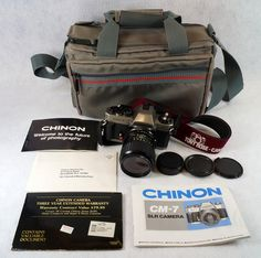 Chinon CM-7 35mm SLR Film Camera, 50mm Ozunon Lens, Manuals & Coastar Case To see the Price and Detailed Description you can find this item in our Category Vintage Camera, Film & Related on eBay: http://stores.ebay.com/tincanalley1/Vintage-Camera-Film-Related-/_i.html?_fsub=19469214018  RD14976