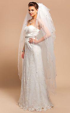 Ten-tier Waltz Wedding Veil With Scalloped Edge – USD $ 39.99