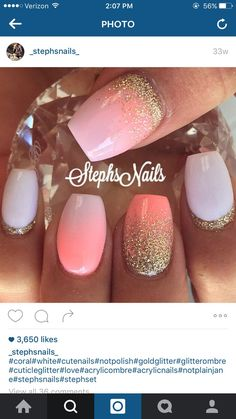 Summer spring nails coral white gold glitter ombré fade coffin medium short acrylic gel Stephs nails