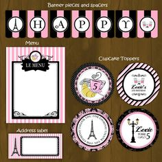 Paris party package for a pink and black Paris-themed birthday! This DIY set contains MORE items that most of our regular birthday packs, so don't miss the chance to get this for the same price! *wink