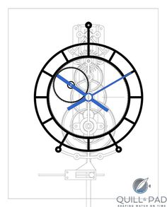 Gato is actually a fully functioning, though immobile, planetary gear Wooden Gear Clock, Wooden Gears, Wood Clocks, Antique Clocks, Unusual Watches, Mechanical Clock, Wall Clock Design, Diy Clock, Technical Drawing