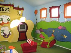 We won't be doing all this, but I'm liking the Dr. Seuss themed playroom idea more and more...